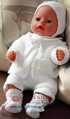White clothes  knitted in Stork cotton yarn  is beautiful on my Little Babydoll Design: Målfrid Gausel