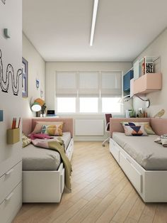 25 Creative And Fun Kids Room Ideas For Sharing For some reason, having your own room is more fun for every child. But not all parents are lucky to have a big house with lots of space, especially for those Kids Bedroom Designs, Kids Room Design, Home Design, Bedroom Ideas, Jugendschlafzimmer Designs, Design Ideas, Kids Bed Frames, Shared Bedrooms, Small Shared Bedroom