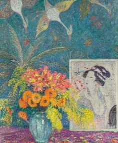 Leon De Smet  Still Life with Vase of Flowers and Japanese Print, 1917