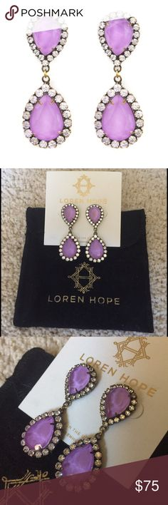 Loren Hope Abba Earrings in Lilac RARE!! BRAND NEW, unused Loren Hope Abba earrings in Lilac. They no longer make this color and they are nearly impossible to find! Comes with original earring card and dust bag (pictured). Price is firm, but can go cheaper on ♏️ Loren Hope Jewelry Earrings