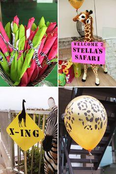 Cute & Girly Safari Birthday Party // Hostess with the Mostess® Giraffe Birthday Parties, Wild One Birthday Party, Safari Birthday Party, Baby Girl First Birthday, Animal Birthday, First Birthday Parties, Safari Party, Jungle Party, Jungle Theme