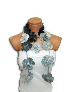 Hand made crochet Gray Black White Flower by WomanStyleStore, $25.00