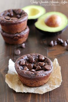 Avocado Muffins that are chocolatey, fudgy, eggless & only 188 calories so you feel like you're eating dessert for breakfast! You can't taste the avocados!