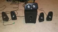 Used (normal wear) - Logitech surround sound 5 speakers and a subwoofer it works great it works on all new and old televisions