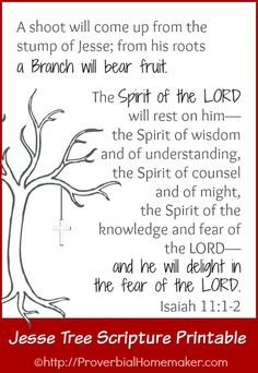 FREE Jesse Tree scripture printable of Isaiah 11:1-2. ProverbialHomemaker.com