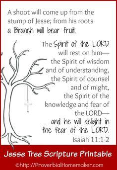 FREE Jesse Tree scripture printable of Isaiah 11:1-2. ProverbialHomemaker.com