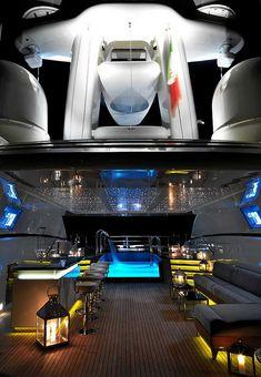 Yacht Numptia 100-Sun Deck at Night ROSSINAVI FR020 Mega Yacht 70 m | by ROSSINAVI