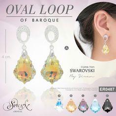 """#Oval Loop of Baroque"" ($35) #Swarovski #Baroque #Pendant style  #crystal size  22 mm.  A: Aurora Boreale  B: Golden Shadow  C: Paradise shine D: Aquamarine  E: Jet (black)   E-mail : nanthwan13@yahoo.com"