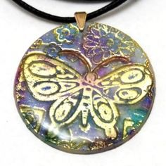Batik butterfly polymer clay foil pendant in purple, blue an