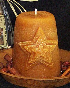 Primitive Sugar Cone Pillar Candle Layered Star Scented Country Sugarcone Grubby