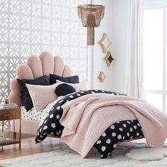 The Emily & Merritt Upholstered Shell Bed, Full, Luxe Velvet Dusty Rose - pink - Furniture - Upholstered Beds - Pottery Barn Teen Teen Headboard, Teen Bedding, Teen Bedroom, Bedding Sets, Master Bedroom, Bedroom Furniture, Bedroom Decor, Pink Furniture, Furniture Movers
