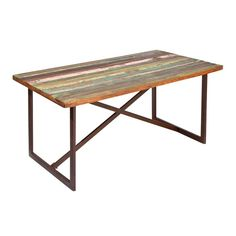 The colourful Lowry dining table will add an industrial flair to your home interior. The extremely trendy and modern design is characterised by two different elements of the table: the recycled-wood tabletop is painted with a multicoloured varnish, while the material of the frame is made of brown metal. Every meal becomes a memorable experience with the Lowry dining table!