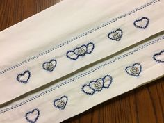 Excited to share this item from my shop: Hand Embroidered pillowcase set Blue hearts and blue stripe fabric Unique Gift Personalised Gifts Unique, Personalized Pillow Cases, Unique Gifts, Blue Pillow Cases, Blue Hearts, Embroidered Pillowcases, Handmade Pillows, Vintage Embroidery, Striped Fabrics