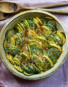Recipe: Baked Summer Squash — Recipes from The Kitchn ~ 2 pounds summer squash (such as zucchini, pattypan squash, yellow crookneck squash) 1/4 cup olive oil 1/2 cup grated Parmesan cheese 1/3 cup bread crumbs 1/2 teaspoon flaked salt 1/4 teaspoon freshly ground pepper Preheat the oven to 350°