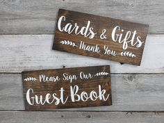 Rustic Wood Wedding Sign Cards & Gifts Thank You