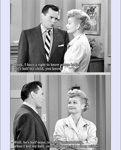 Lucille Ball & Desi Arnaz, I Love Lucy 'Nursery School' season 5    Lucy is trying to keep Ricky from sending Little Ricky to nursery school.