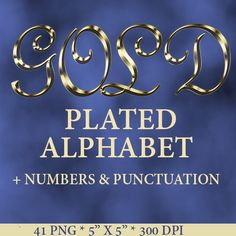 Gold plated digital alphabet clipart with letters by LucyPlanet