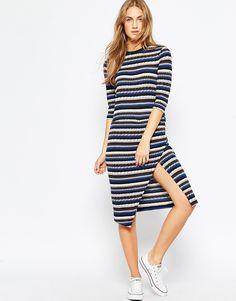 Image 4 ofASOS Knitted Stripe Midi Dress