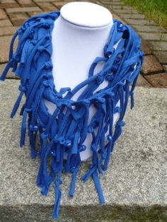 Shabby Chic Sliced Knotted and Beaded Cowl T by mulberrymoosetoo, $10.00