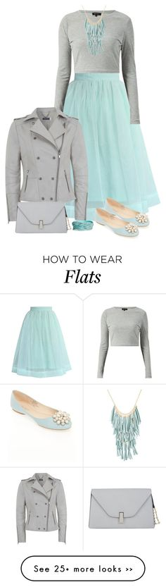 """Mint & Gray with a side of flats"" by ginga1203 on Polyvore"