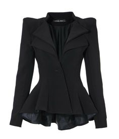 Amazon.com: LookbookStore Women's Double Notch Lapel Sharp Shoulder Pad Asymmetry Blazer: Clothing