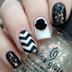 Black and white chevron nails | NailsByErin
