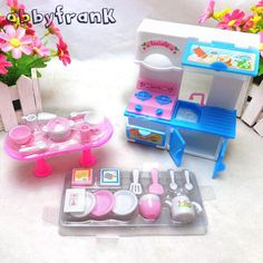 Dolls Kitchen Toy Set 20Pcs/Set Tableware Mini Simulation Cooker Dinnerware Stool House Accessory Dolls Accessories Toy For Girl