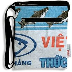 eco shoulder pouch recycled rice bag STOPstart cambodia