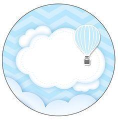 Uau! Veja o que temos para Rótulo Personalizado para latinha e toppers Balão de Ar Quente Azul Kit Festa
