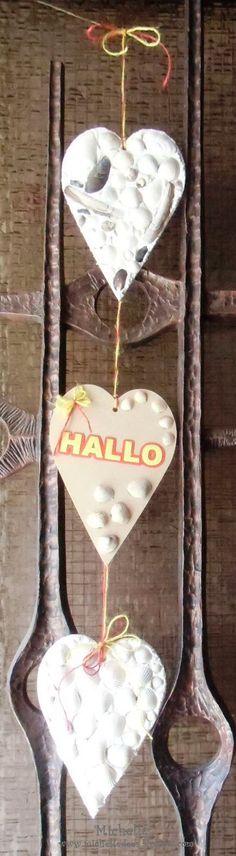 ein Türhänger mit Muscheln die ich selber gefunden habe an der Ostsee I Card, Crafts, Fimo, Seashells, Baltic Sea, Summer, Manualidades, Handmade Crafts, Craft