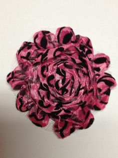 1 Piece - Black Velvet Damask on Hot Pink Shabby Chic, Frayed Flower, Vintage Look for Headband, Hairclip, Hairbow Halloween Ribbon, Mesh Material, Chiffon Flowers, Pink Polka Dots, Vintage Flowers, 1 Piece, Vintage Looks, Black Velvet, Hair Bows