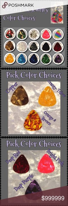 (2) Guitar Pick Earrings & Pendants Color Choices PART 2: All guitar pick jewelry can be made from any of the colors shown above using any of the charms you see in my other listings. More charms are coming soon so if you have a particular theme in mind, just ask! Comment here for custom requests. See PART 1 for more color close-ups.  Jewelry items are priced firm as a single purchase due to material cost & PM fees.   Bundle special on guitar pick /choker/charm jewelry ONLY: Any 2 items for…