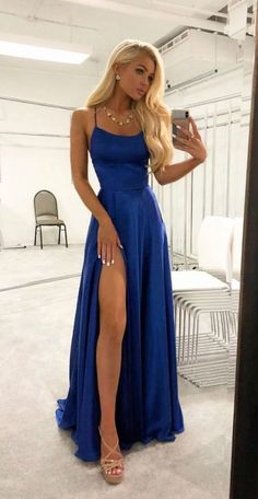 Elegant Evening Dresses A Line High Slit Royal Blue Long Prom Dresses Simple Chiffon Formal Dress Elegante Abendkleider A Line High Slit Royal Stunning Prom Dresses, Pretty Prom Dresses, Backless Prom Dresses, Hoco Dresses, Cheap Prom Dresses, Dance Dresses, Woman Dresses, Sexy Dresses, Fashion Dresses