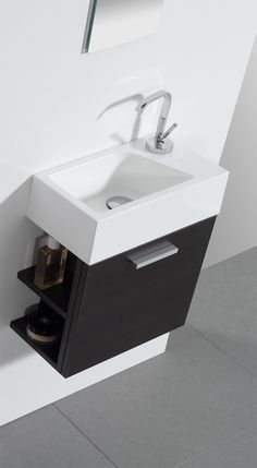Small sink for each room - must be 'hands free' function Small Toilet Room, Guest Toilet, Downstairs Toilet, Home Decor Furniture, Bathroom Furniture, Bathroom Interior, Bathroom Design Small, Bathroom Layout, Washbasin Design