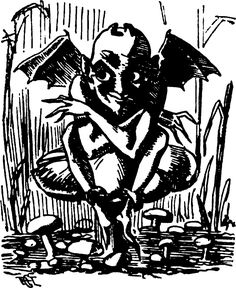 A toadstool imp, from Punch (1860).