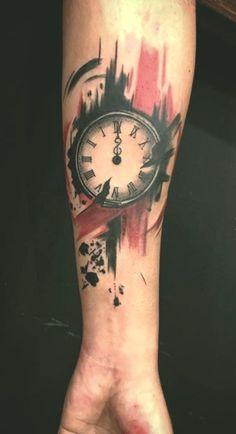 trash polka clock tattoo © tattoo artist Christian Nunes 💗✨💗✨💗 tattoo hombre Trash Polka Tattoos, Explained and Illustrated - KickAss Things Trash Polka Clock Tattoo, Trash Polka Tattoos, Tattoo Trash, Tatto Clock, Clock Tattoo Design, Tattoo Designs, Dot Tattoos, Trendy Tattoos, Tattoos For Guys