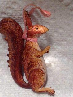 Antique German Squirrel X-Mas Ornament Dresden