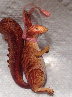 "Antique Dresden German ""Squirrel ""Christmas  Ornament."
