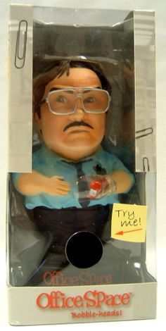 """The perfect cure for a """"Case of the Mondays,"""" these Office Space bobbleheads depict some of your favorite characters from the crazy cult of cubicles measures approximately 7"""" tall sculpted by Rudy Garcia features hilarious sound bytes from the film brand new in manufacturer's packaging Milton says """"Excuse me, I believe you have my stapler."""" """"I've, I've been told that I could listen to the radio at a reasonable volume."""" """"I, I didn't receive my paycheck this week."""""""