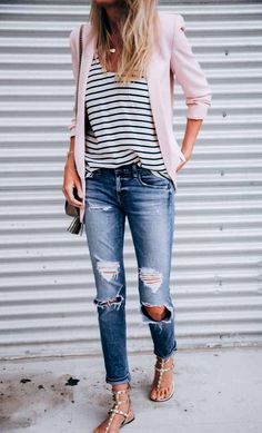 Spring styleboyfriend jeans casual outfit pink blazer. See more at www. HerStyledView.com
