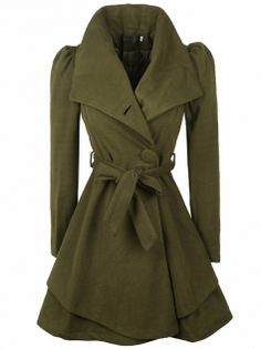 Women's Special Design Wide Turn Down Collar Puff Sleeve Slim Trench Coat