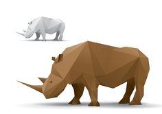 Rhino Origami Vector