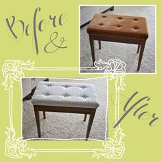I've been wanting a good reupholster project for a while now. I have done exactly ZERO reupholstering but I have a love for it (and a respect for those that do it well!) I've seen a lo… Furniture Fix, Upcycled Furniture, Furniture Makeover, Piano Bench, Piano Room, Decorating On A Budget, Interior Decorating, Music Studio Decor, Diy Bench