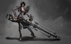 Sci-Fi Fantasy Babes | Soldier Girl Sci Fi Weapon Body Suit HD Wallpaper w09.