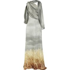 Rodarte Stormy Wheat crinkled silk-chiffon gown ($2,588) ❤ liked on Polyvore featuring dresses, gowns, long dress, vestidos, draped gown, see-through dresses, sheer evening gown, low-back dresses and drape dress