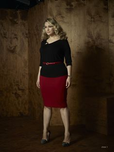 Curvy Woman Red Pencil Skirt Black Top Skinny Red Belt and High Heels