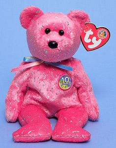 Decade (pink BBOM July 2003) - Bear - Ty Beanie Babies