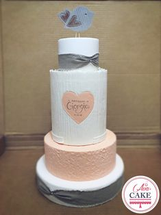 Baptism Baby Cake, pink and grey