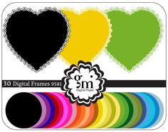 30 Digital Frames, Heart Frame Clipart, Circle Clipart, Black Circle, Round Frame, Digital Frames and Borders, Instant Download - pinned by pin4etsy.com