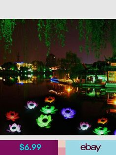 Solar Power LED Color Lotus Flower Floating Lamp Garden Pond Wishing Light Cute Pond Lights, Walkway Lights, Garden Swimming Pool, Garden Pond, Floating Garden, Lotus Pond, Solar Led, Color Changing Led, Solar Power